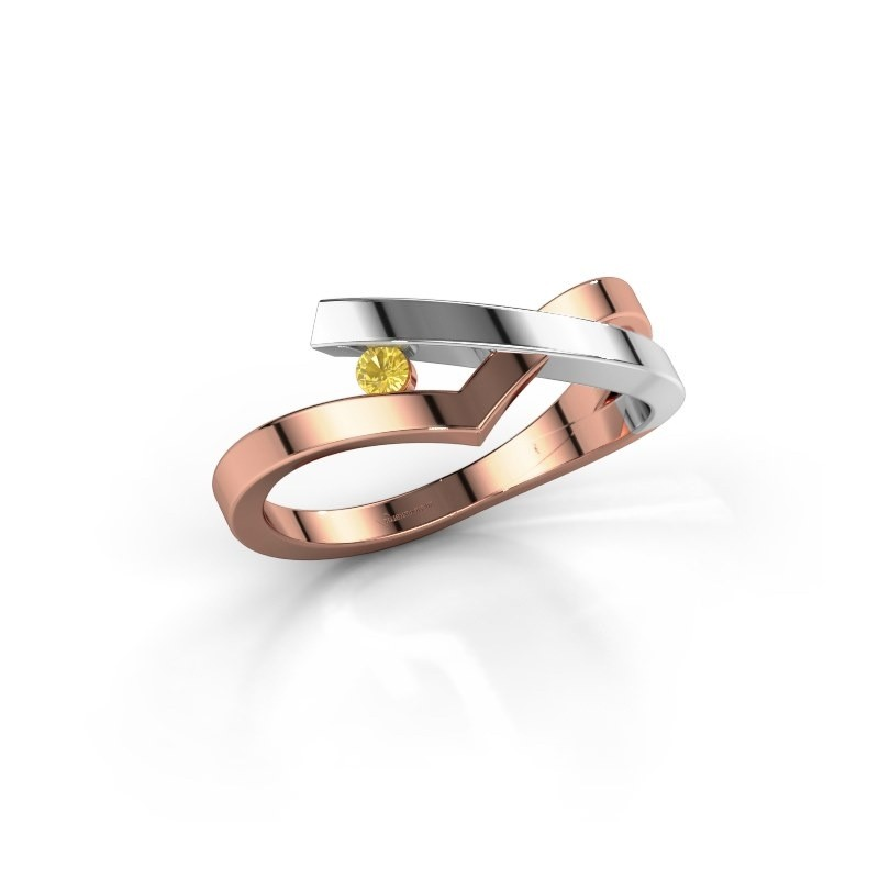 Ring Pamella 585 rosé goud gele saffier 2.2 mm