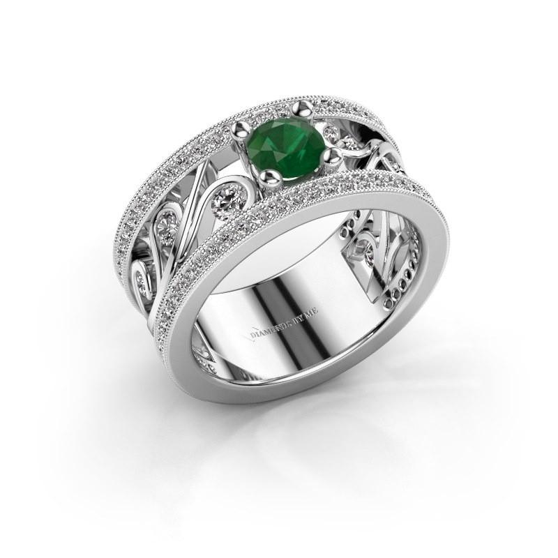 Ring Sanne 585 witgoud smaragd 5 mm