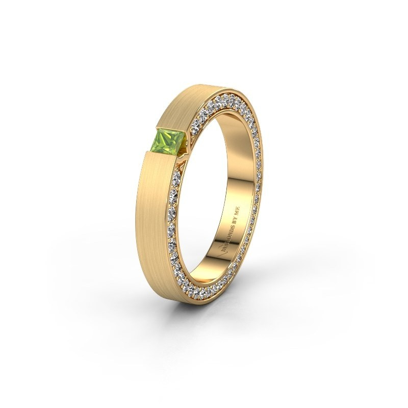 Wedding ring WH2140L14B 375 gold peridot ±3,5x2 mm