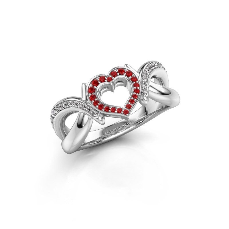 Ring Earlie 2 585 white gold ruby 1.1 mm