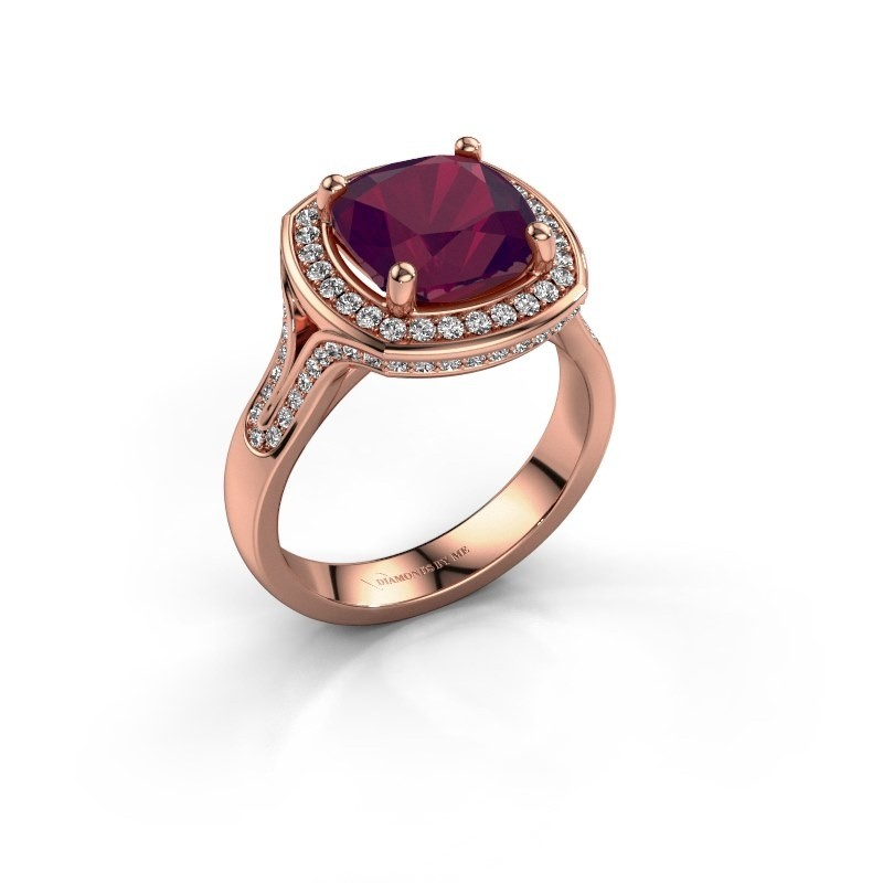 Ring Lili 375 rosé goud rhodoliet 9 mm
