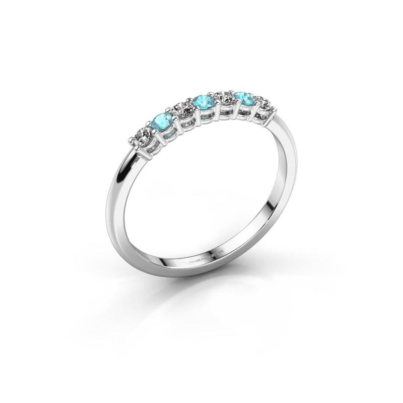 Verlovings ring Michelle 7 585 witgoud blauw topaas 2 mm