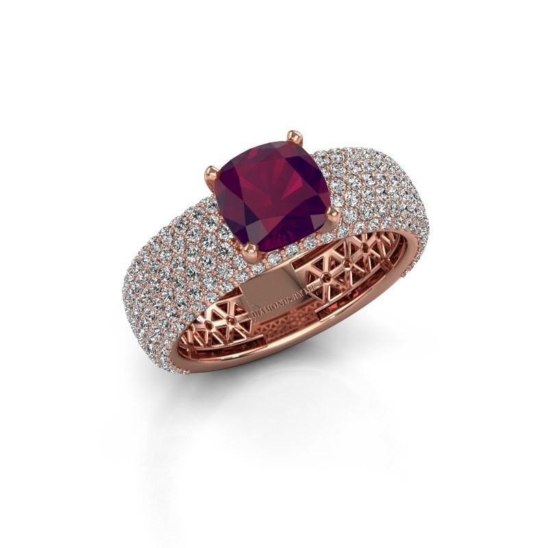 Engagement ring Darcy 375 rose gold rhodolite 7 mm