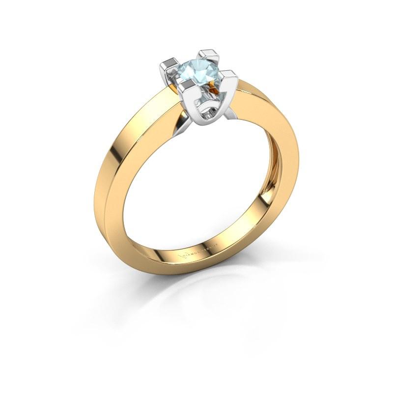 Verlovingsring Nina 1 585 goud aquamarijn 3.7 mm