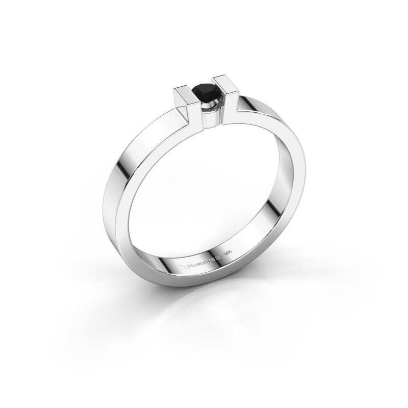 Verlovingsring Lieve 1 585 witgoud zwarte diamant 0.12 crt