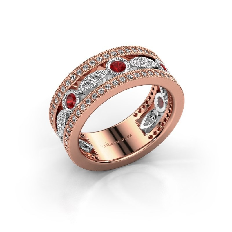 Ring Jessica 585 rosé goud robijn 2.5 mm
