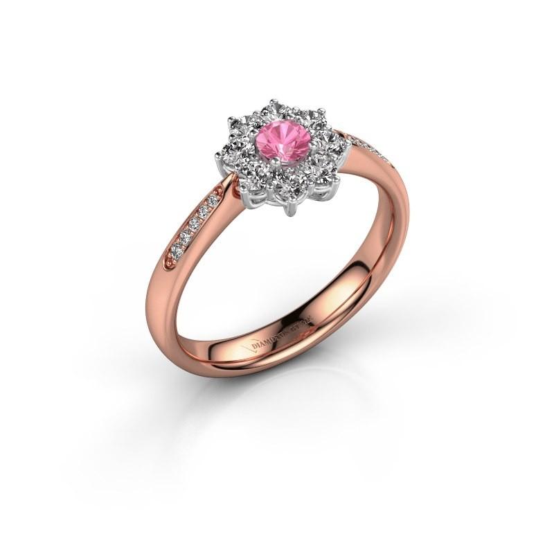 Verlobungsring Carolyn 2 585 Roségold Pink Saphir 3.4 mm