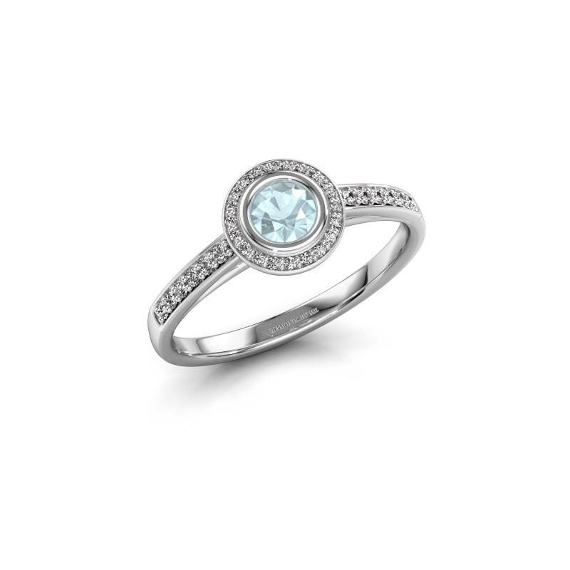 Engagement ring Noud 2 RND 950 platinum aquamarine 4 mm