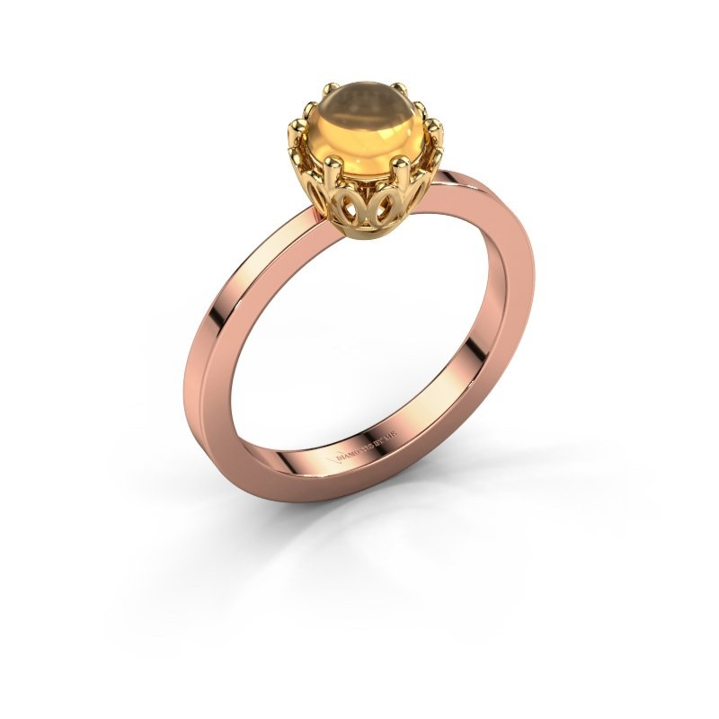 Ring Marly 585 rosé goud citrien 6 mm
