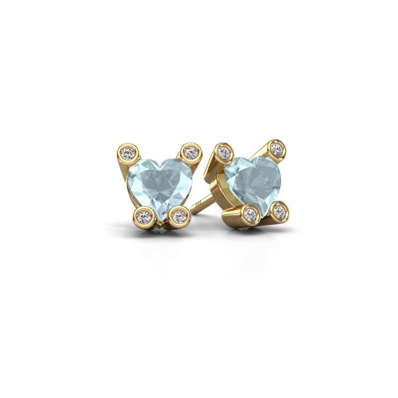 Oorstekers Cornelia Heart 585 goud aquamarijn 6 mm