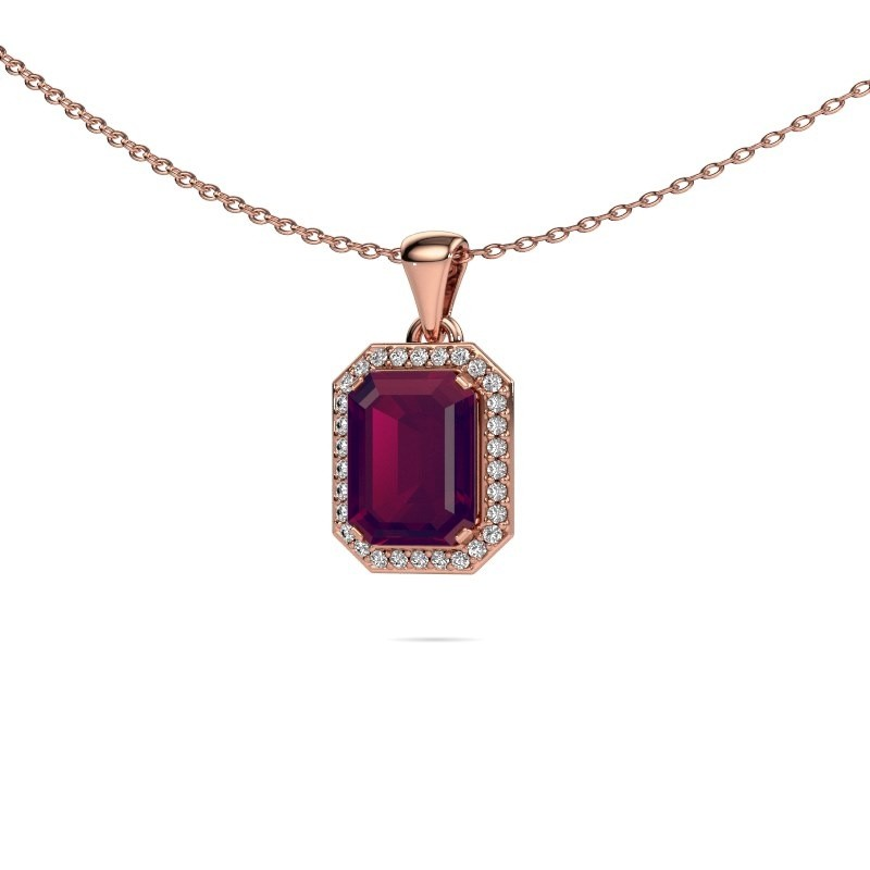 Ketting Dodie 375 rosé goud rhodoliet 9x7 mm