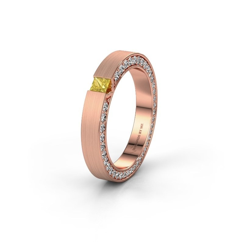 Wedding ring WH2140L14B 375 rose gold yellow sapphire ±3,5x2 mm