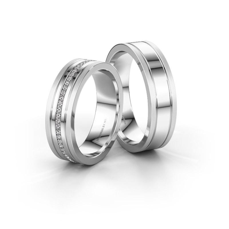 Trouwringen set WH0404LM16APM ±6x1.7 mm 14 karaat witgoud diamant 0.402 crt