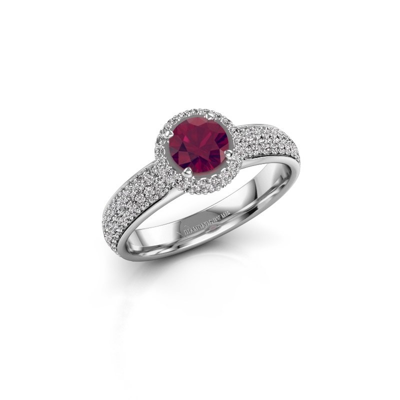Engagement ring Mildred 950 platinum rhodolite 5 mm