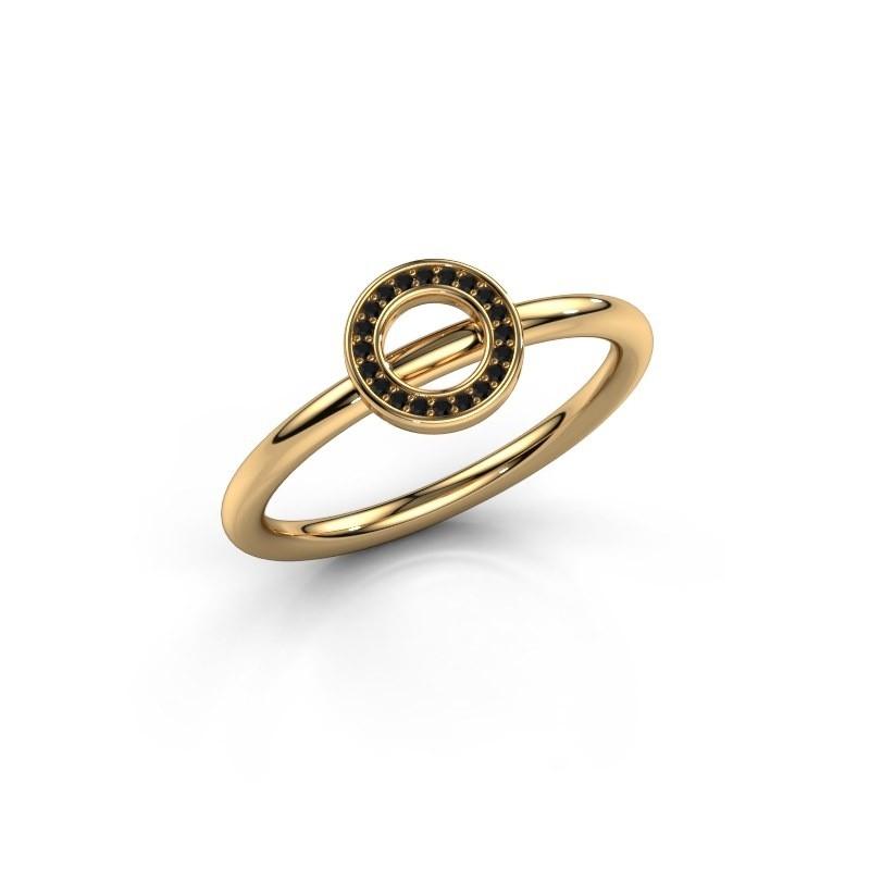 Ring Shape round small 585 goud zwarte diamant 0.06 crt