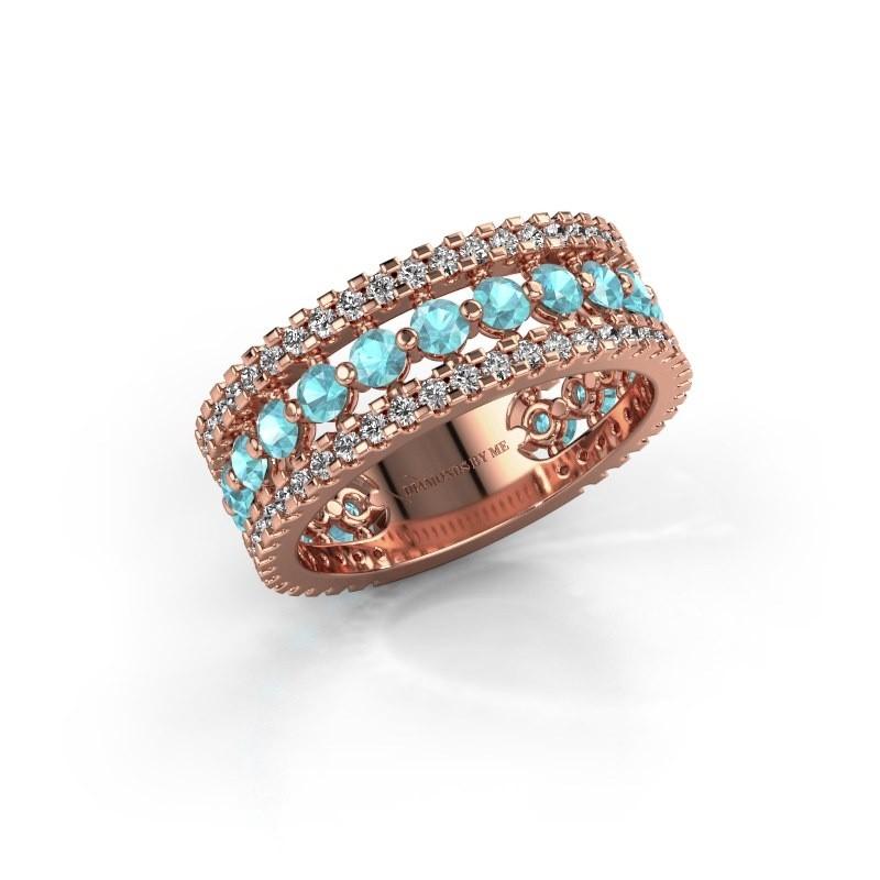 Engagement ring Elizbeth 2 375 rose gold blue topaz 2.4 mm