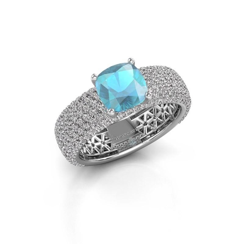 Verlovings ring Darcy 585 witgoud blauw topaas 7 mm