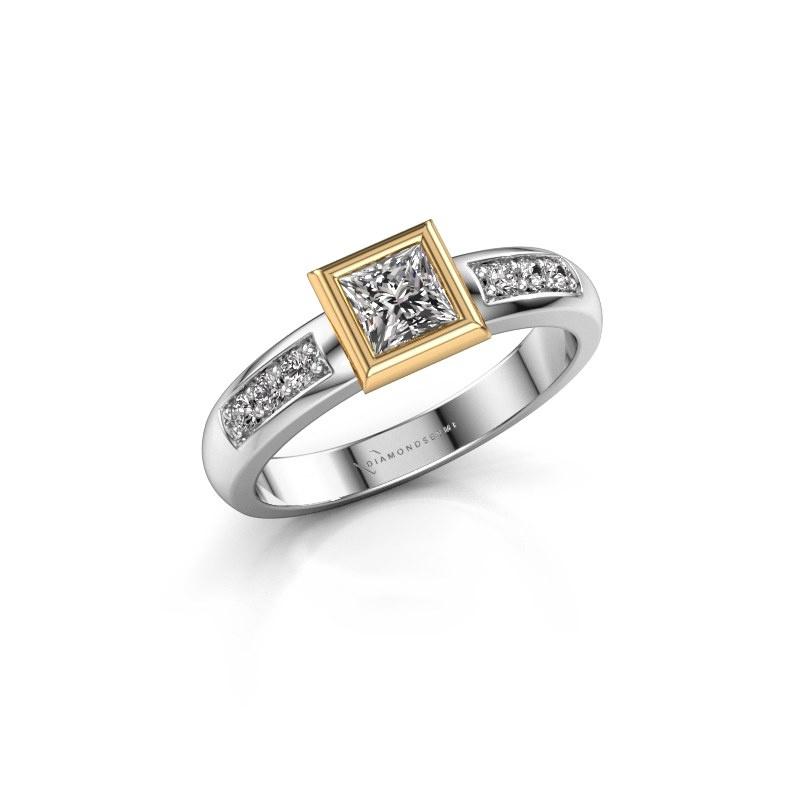 Bague superposée Lieke Square 585 or blanc diamant synthétique 0.52 crt