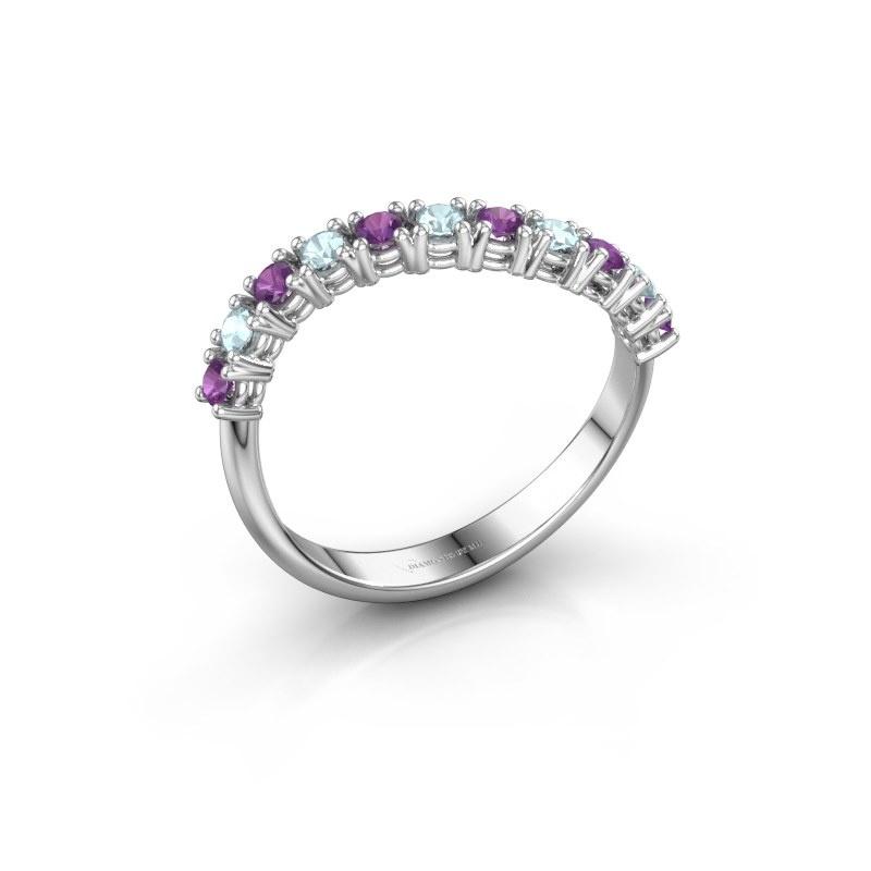 Ring Eliza 585 witgoud amethist 2 mm