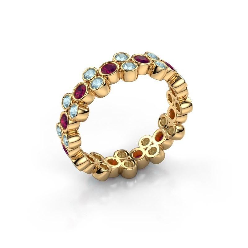 Ring Victoria 375 gold rhodolite 2.4 mm