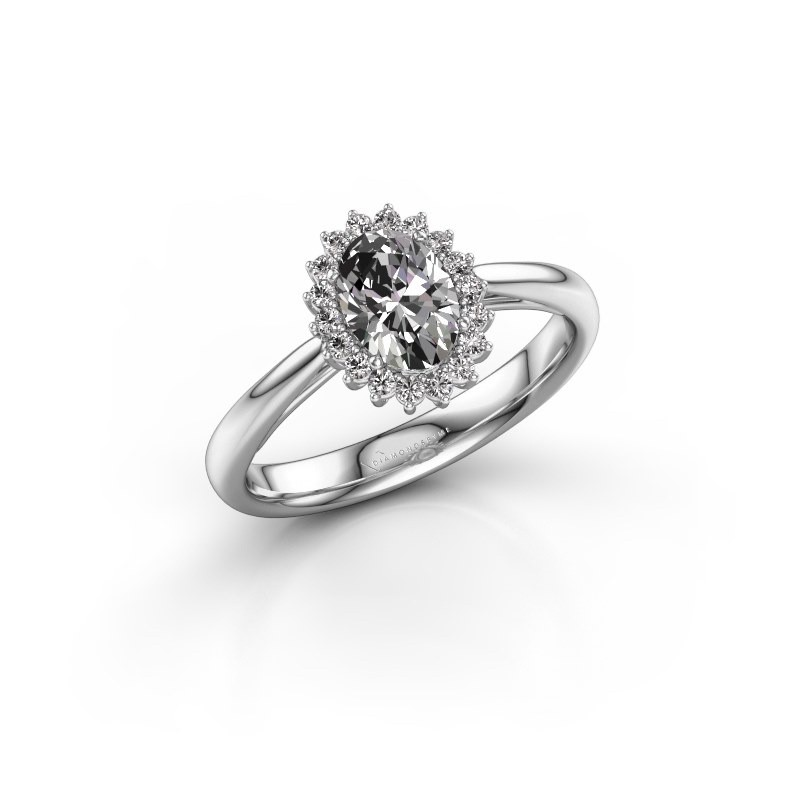 Engagement ring Tilly ovl 1 585 white gold zirconia 7x5 mm