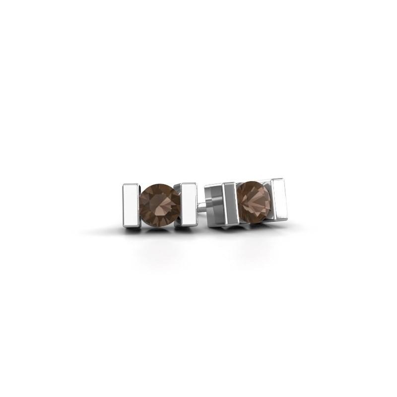 Oorstekers Lieve 950 platina rookkwarts 3.7 mm