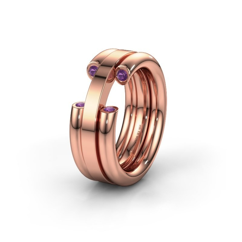 Wedding ring WH6018L 585 rose gold amethyst ±8x3 mm