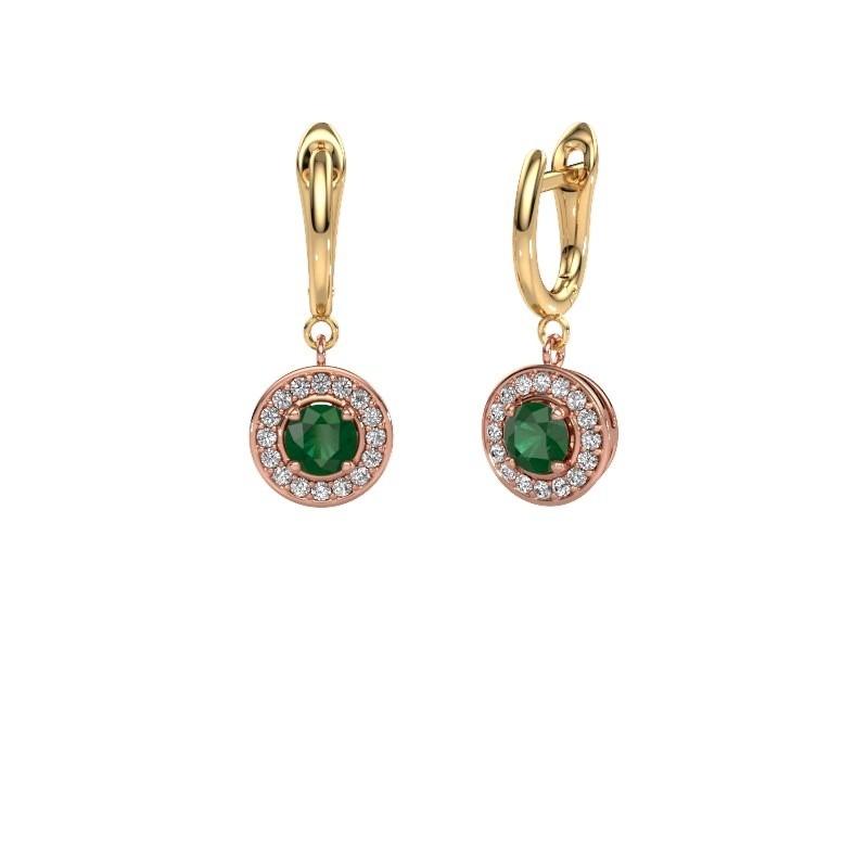 Oorhangers Ninette 1 585 rosé goud smaragd 5 mm