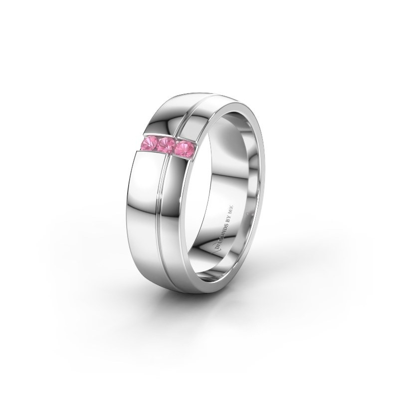 Wedding ring WH0223L56A 925 silver pink sapphire ±0.24x0.07 in