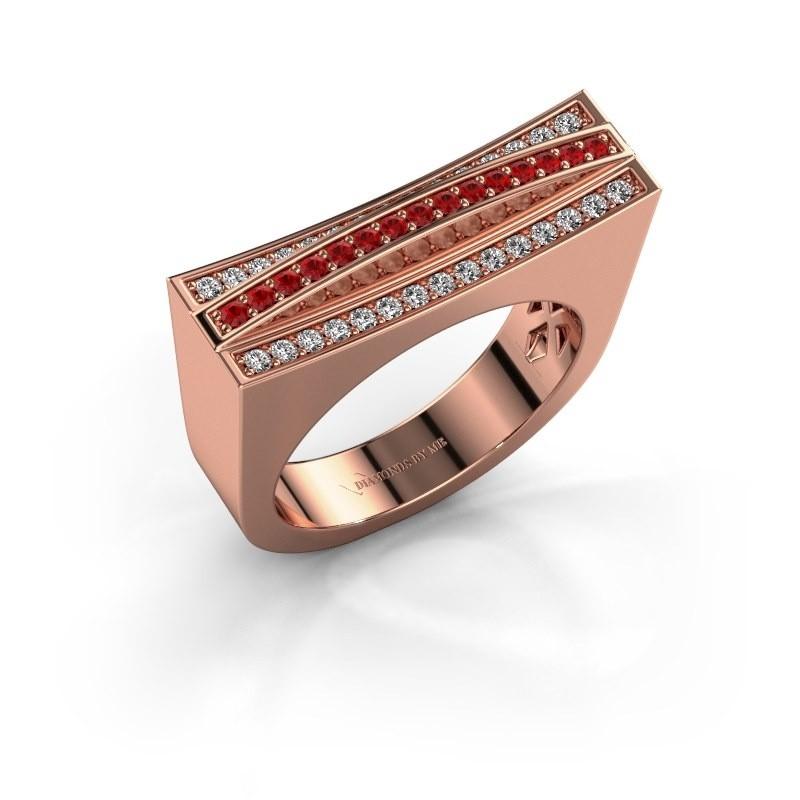 Ring Erma 375 rosé goud robijn 1.2 mm