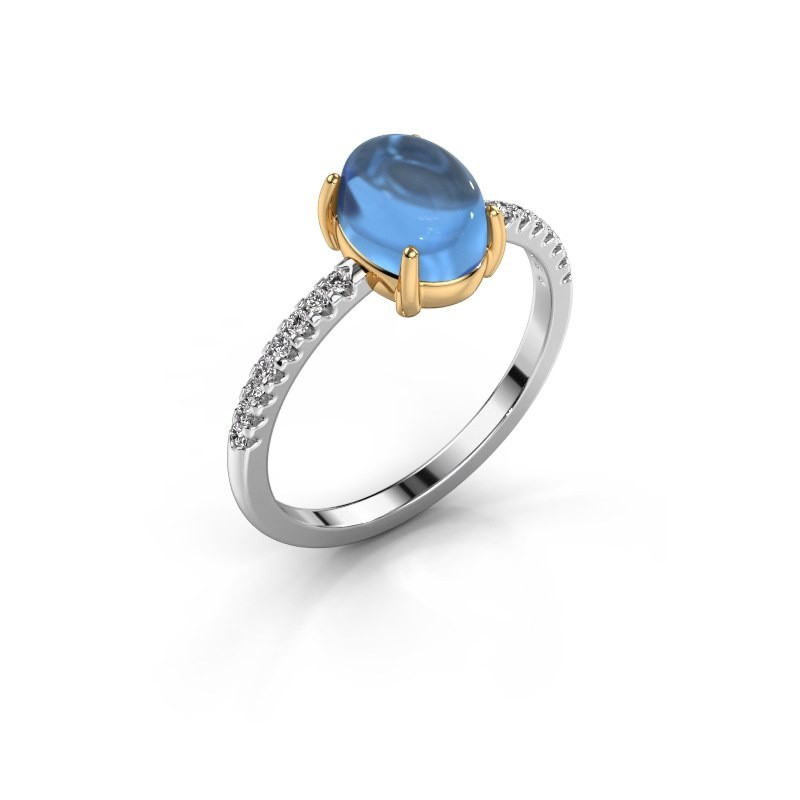 Ring Becky 585 witgoud blauw topaas 8x6 mm