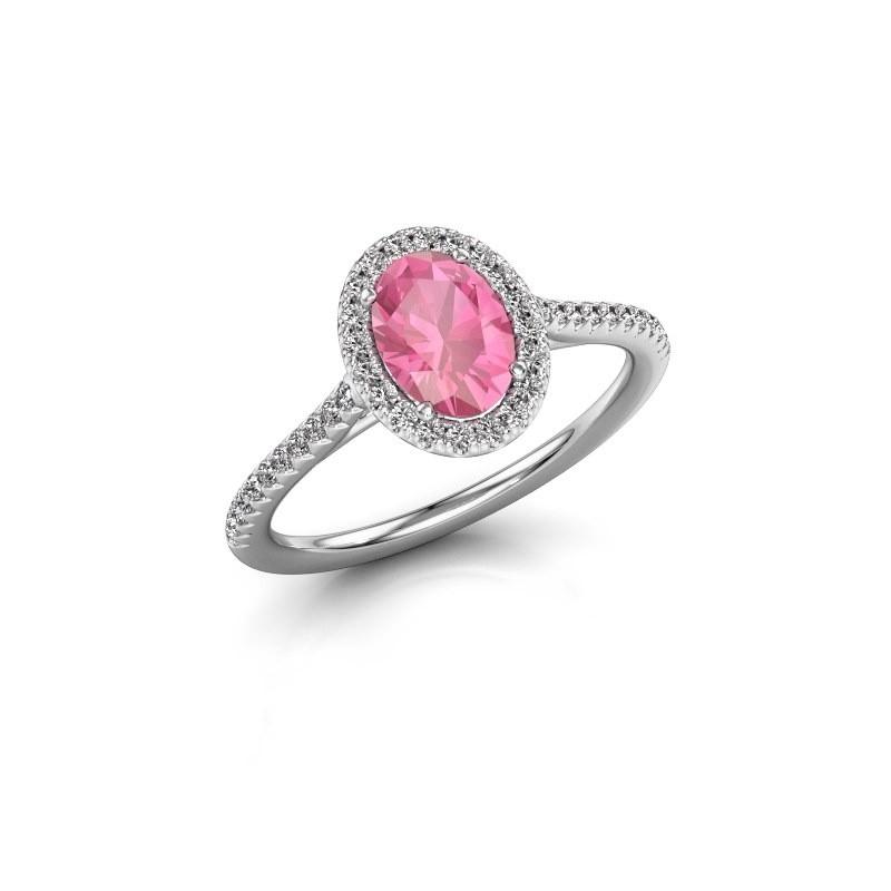 Verlovingsring Seline ovl 2 950 platina roze saffier 7x5 mm