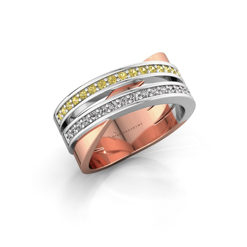 Ring Margje 585 rose gold yellow sapphire 1.3 mm