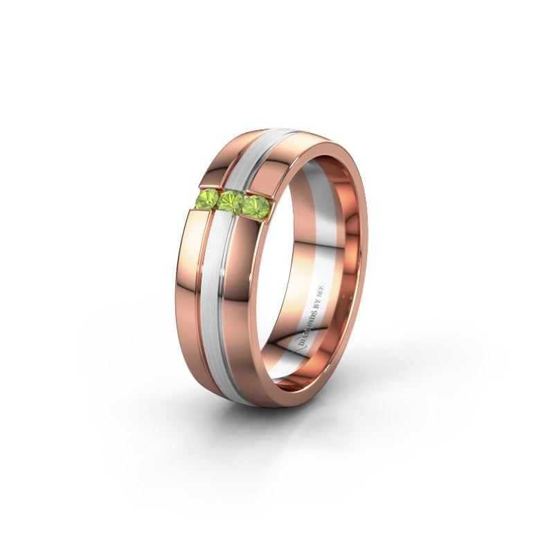 Wedding ring WH0426L26A 585 rose gold peridot ±6x1.7 mm