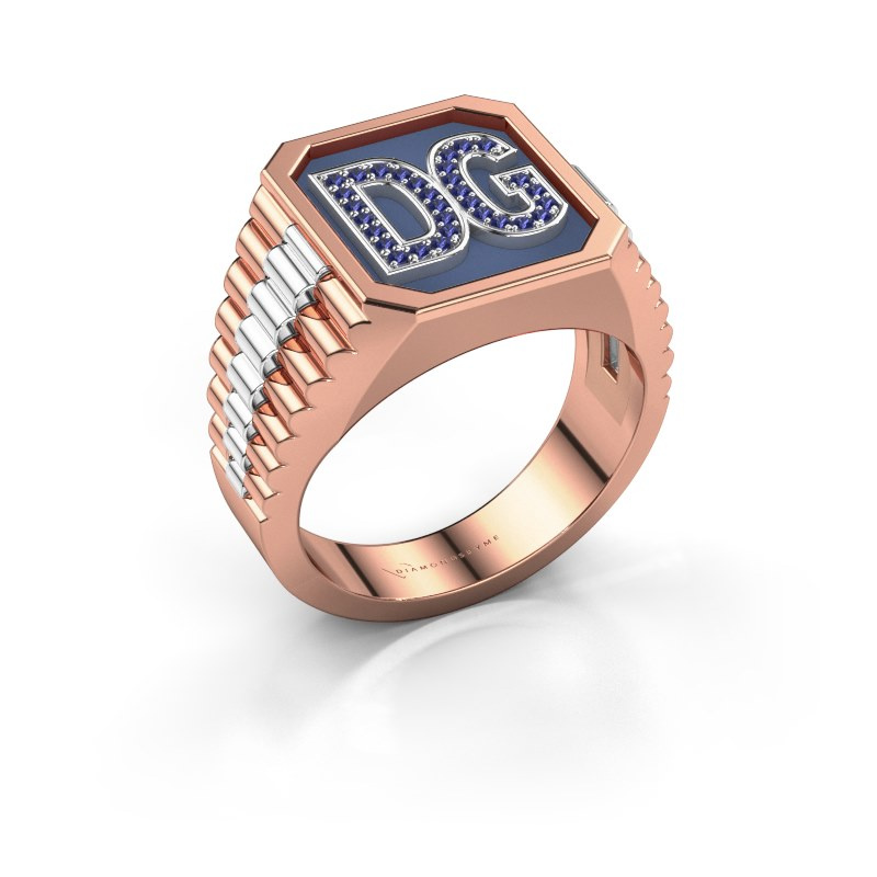 Signet ring Mike 585 rose gold sapphire 1 mm