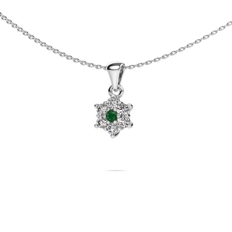 Ketting Chantal 925 zilver smaragd 2.4 mm