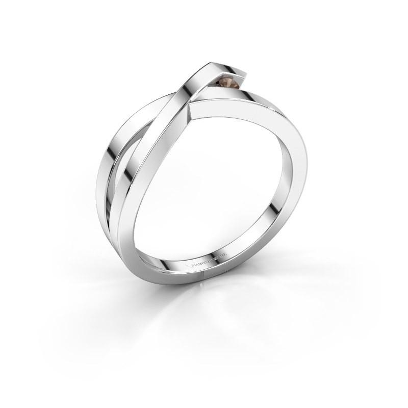 Ring Alyssa 925 silver smokey quartz 2 mm