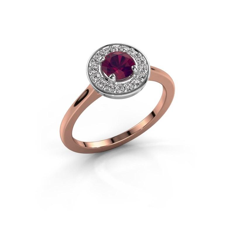 Ring Agaat 1 585 rosé goud rhodoliet 5 mm
