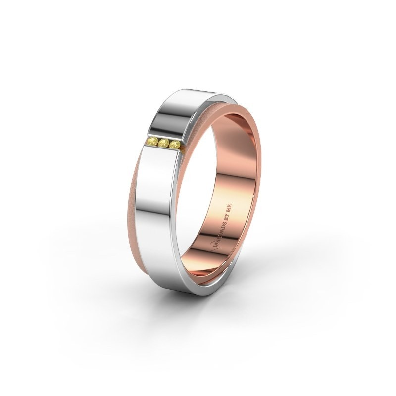 Wedding ring WH6012LX6A 585 rose gold yellow sapphire ±6x1.7 mm