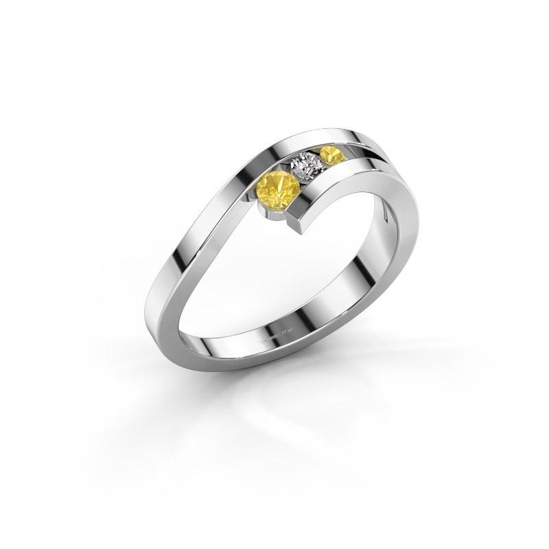 Ring Evalyn 2 585 witgoud gele saffier 2.8 mm