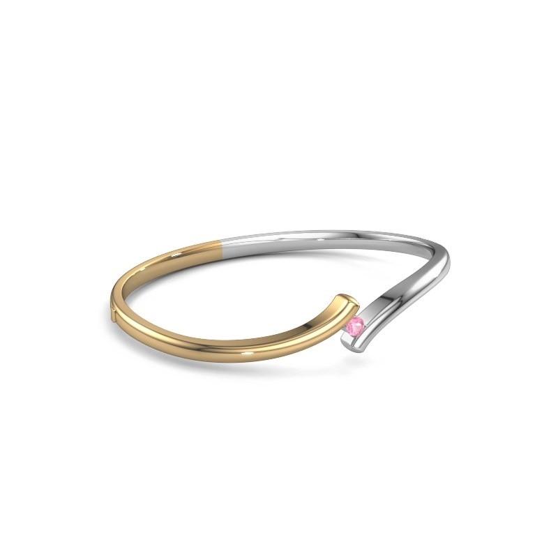 Bracelet jonc Amy 585 or jaune saphir rose 3.4 mm