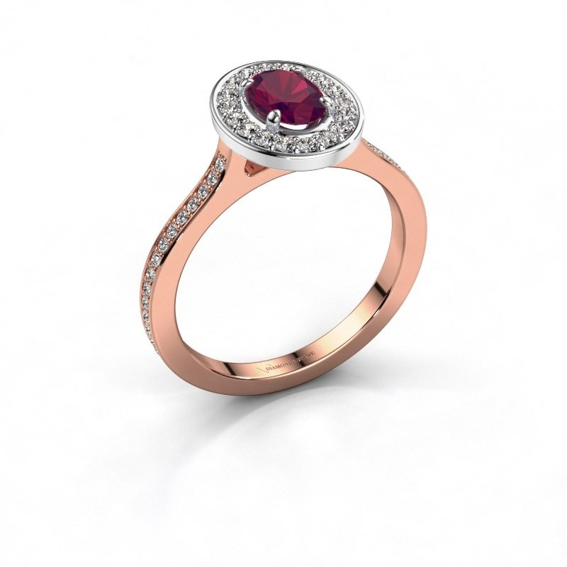 Ring Madelon 2 585 rosé goud rhodoliet 7x5 mm