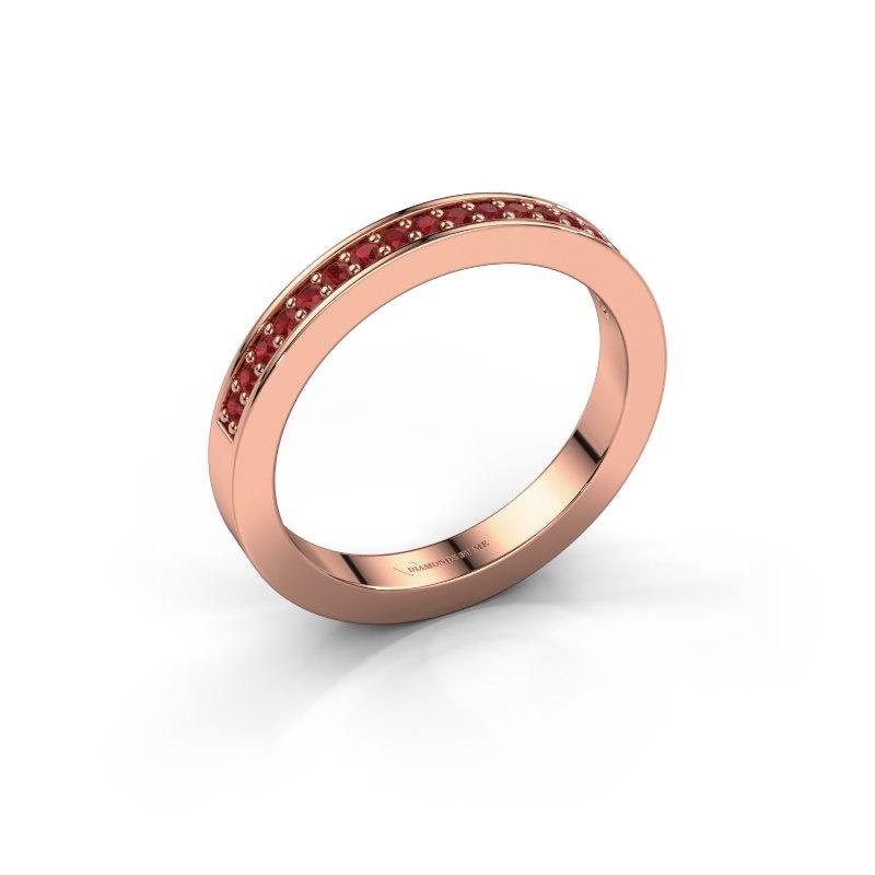 Aanschuifring Loes 4 585 rosé goud robijn 1.3 mm