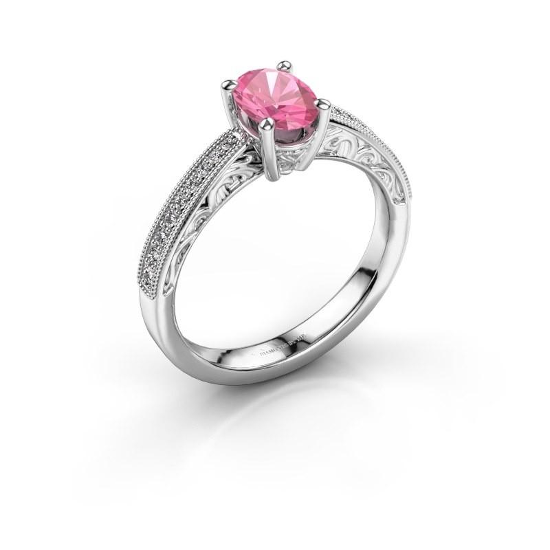 Verlovingsring Shonta OVL 925 zilver roze saffier 7x5 mm