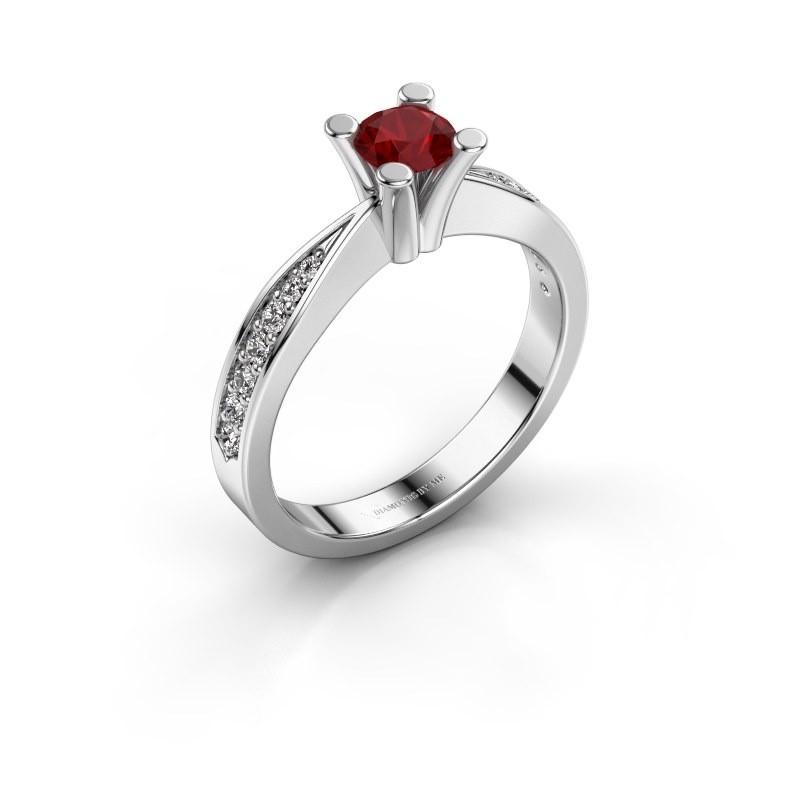 Promise ring Ichelle 2 925 zilver robijn 4.7 mm