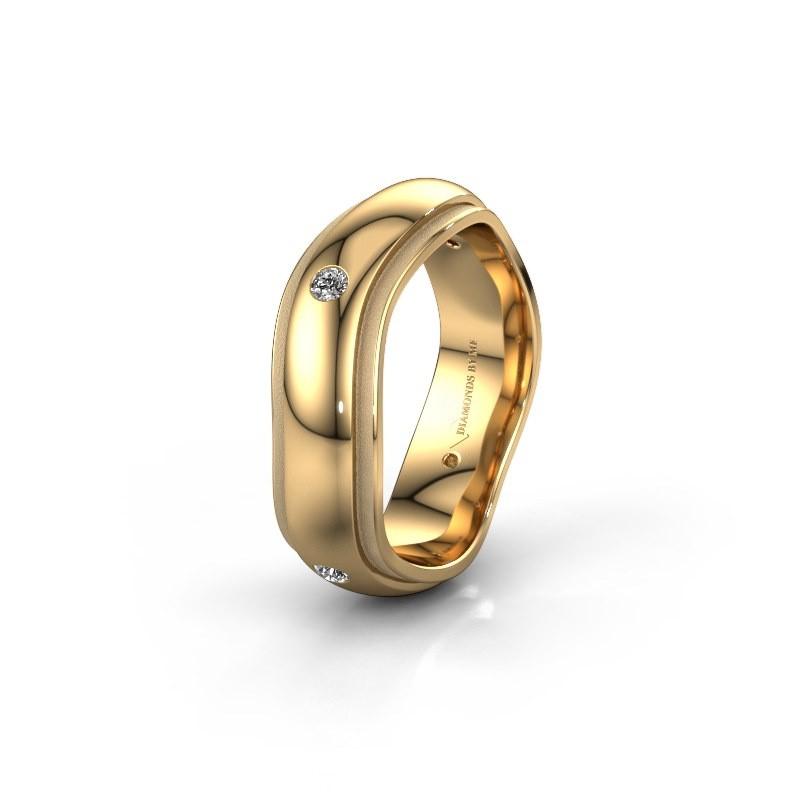 Trouwring WH2050L26DP 585 goud diamant ±6x2.4 mm