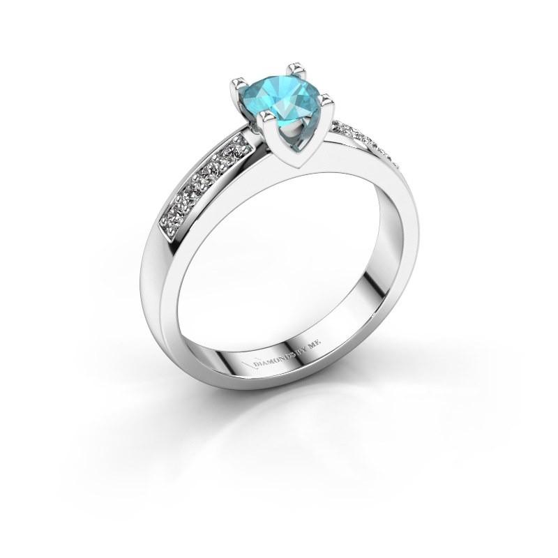 Verlovingsring Isabella 2 925 zilver blauw topaas 5 mm