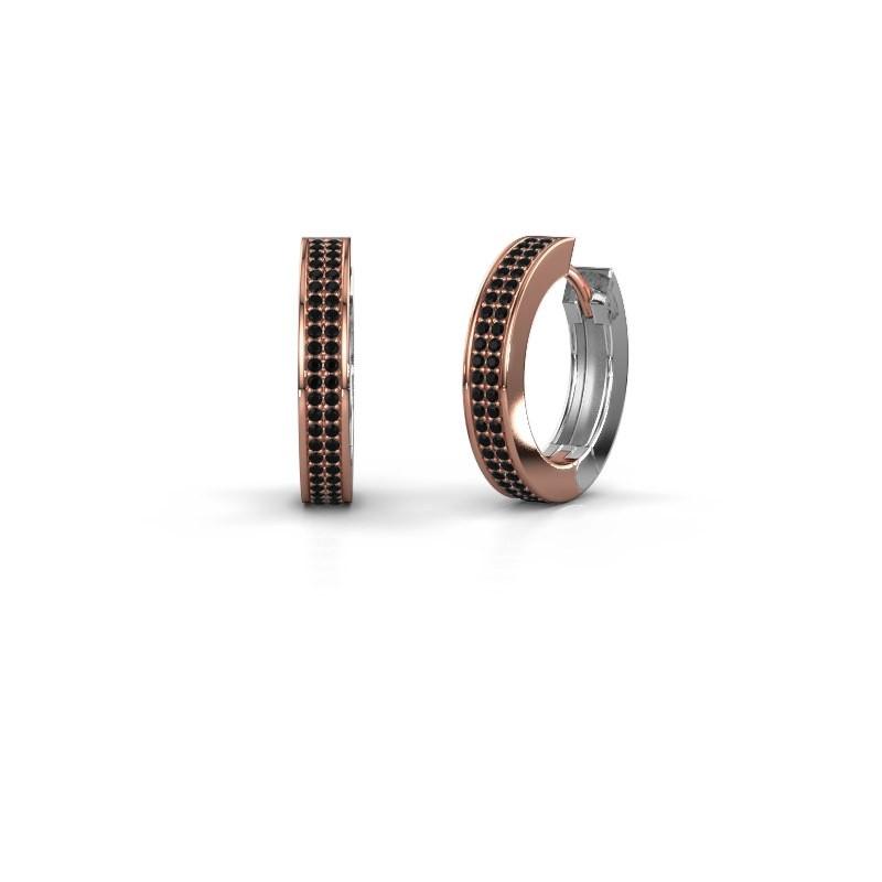 Creolen Renee 5 12 mm 585 rosé goud zwarte diamant 0.936 crt