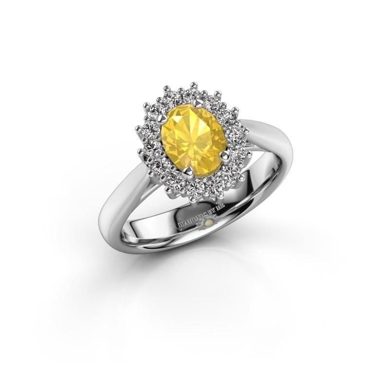 Verlobungsring Margien 1 925 Silber Gelb Saphir 7x5 mm