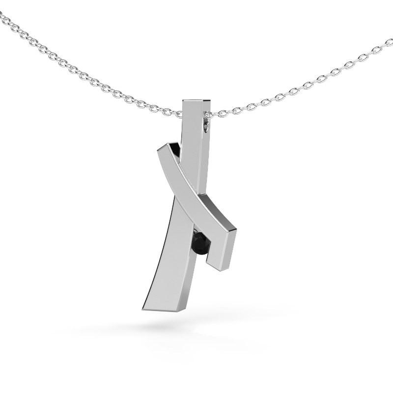 Hanger Alyssa 585 witgoud zwarte diamant 0.096 crt